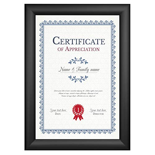 SnapeZo Diploma Frame 8.5x11 Inches, Black 1.2 Inch Aluminum Profile, Front-Loading Snap Frame, Wall Mounting, Premium Series