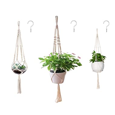 AOMGD 3 Pack Macrame Plant Hanger and 3 PCS Hooks Indoor Outdoor Hanging Plant Holder Hanging Planter Stand Flower Pots for Decorations - Cotton Rope, 4 Legs, 3 Sizes