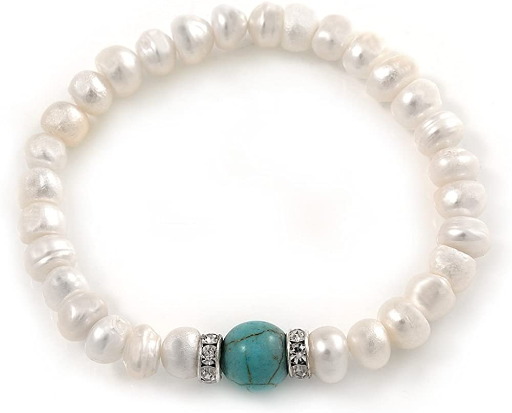 Avalaya 7-8 mm perla blanca de agua dulce con perlas turquesas Flex Pulsera – 18 cm de largo