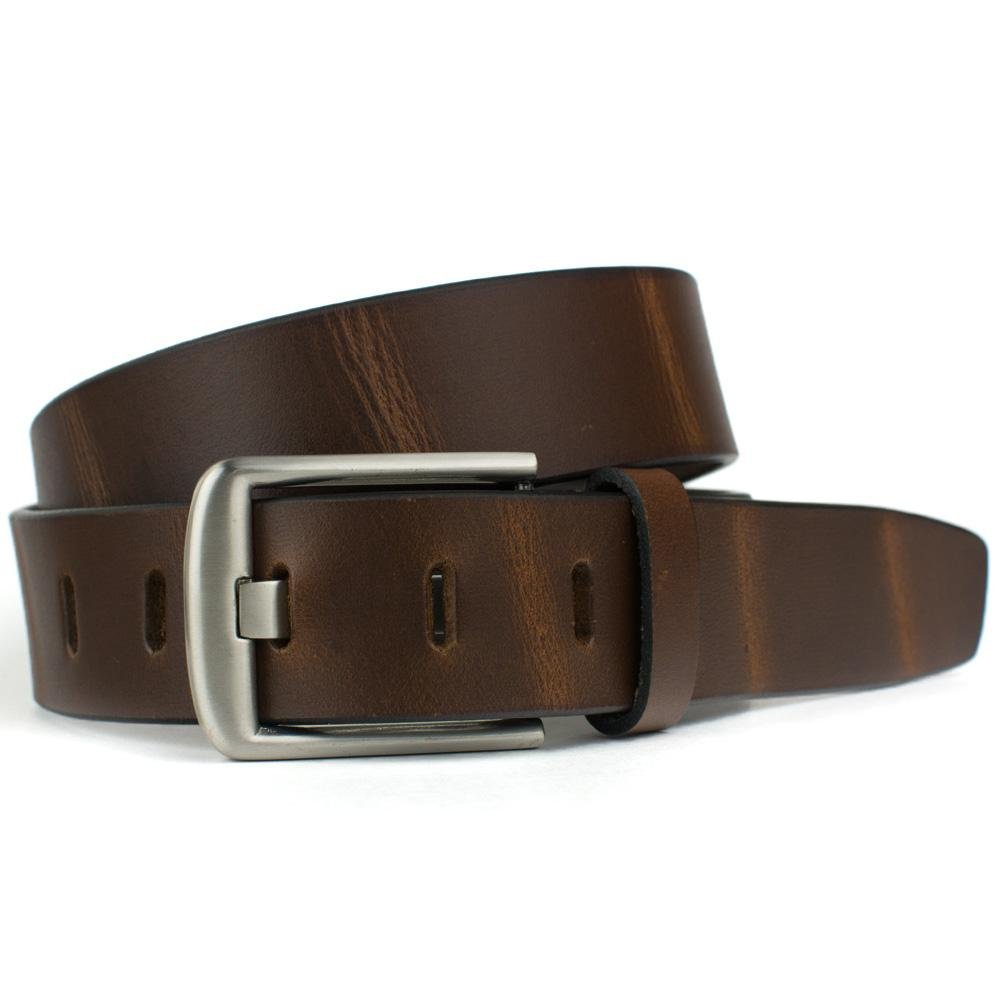 Nickel Smart - Brown Wide Pin Belt - Full Grain Leather Belt with Nickel Free Zinc Buckle - 36''