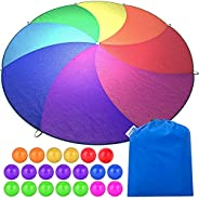 Little Dynamo Parachute - 12 Foot Parachute for Kids with Reinforced Stitching - Waterproof and Colorfast - 8