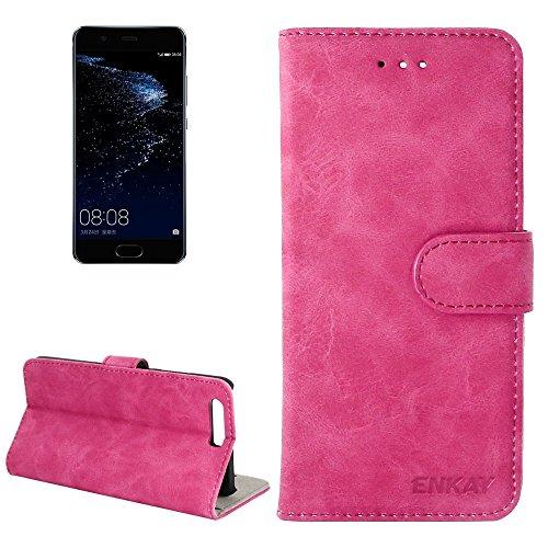 ZITEZHAI-Fashion case ENKAY Huawei P10 Retro Velvet Senior PU + Plastic Bottom Case Horizontal Flip Leather Case with Holder & Card Slots (Color : Magenta)]()