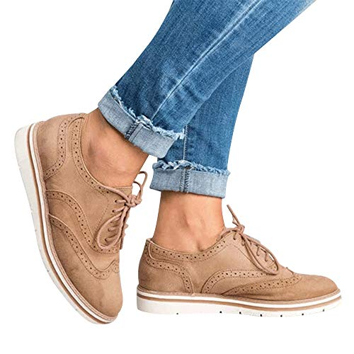 Womens Ankle Flat Suede Lace-up Sport Shoes Walking Running Casual Fashion Sneakers (Khaki, US:8.5)