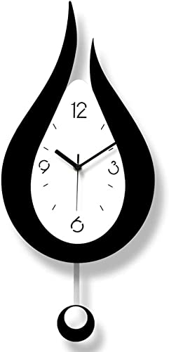 Wall Clock Black and White Water Drop Pendulum Mute Modern Fashion Creative Simple Personality Suitable for Living Room Bedroom Dining Room Decor 24cmx42cm