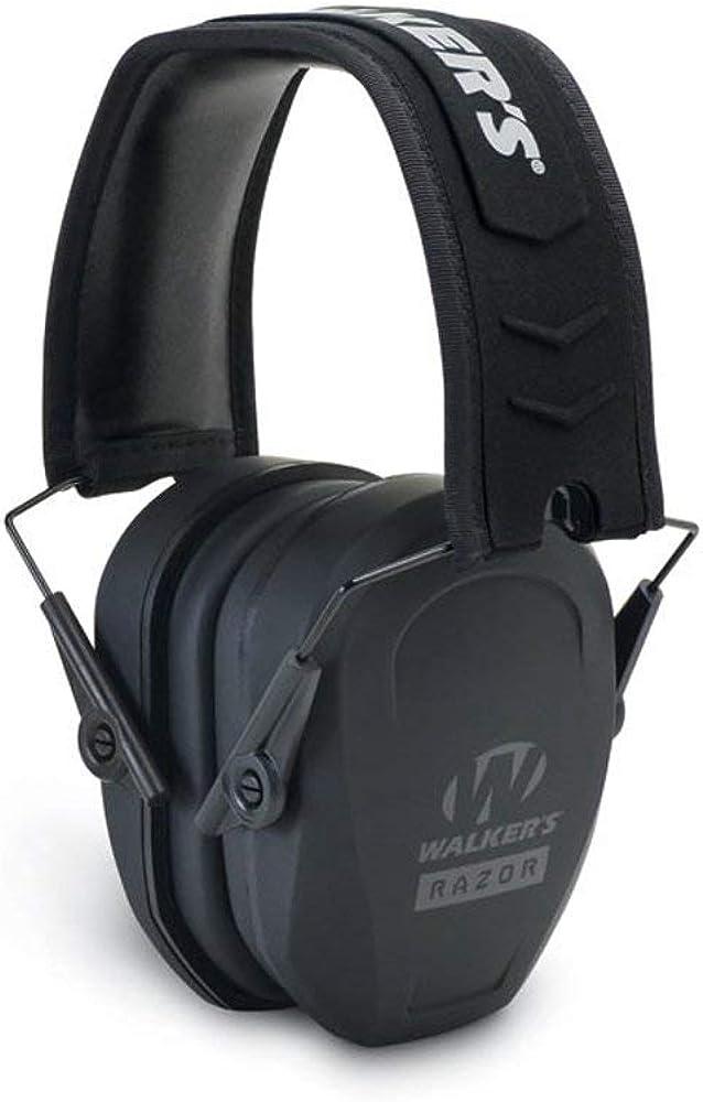 Walker's Razor Slim Passive Earmuff - Ultra Low-Profile Earcups - Black : Clothing