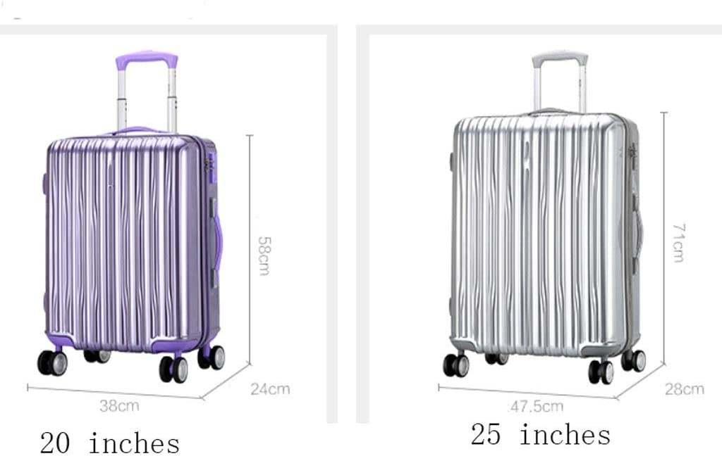HUANGDA Ultra Lightweight ABS Hard Luggage Trolley Bag-Carry On Travel Suitcase//Built in Lock//4 Wheels Spinner-Telescopic Handle Color : Purple, Size : 25 inches