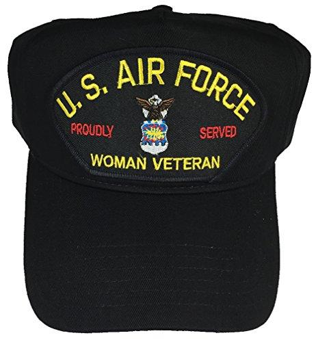U.S. AIR FORCE USAF WOMAN VETERAN PROUDLY SERVED W/ LOGO HAT - BLACK - Veteran Owned Business