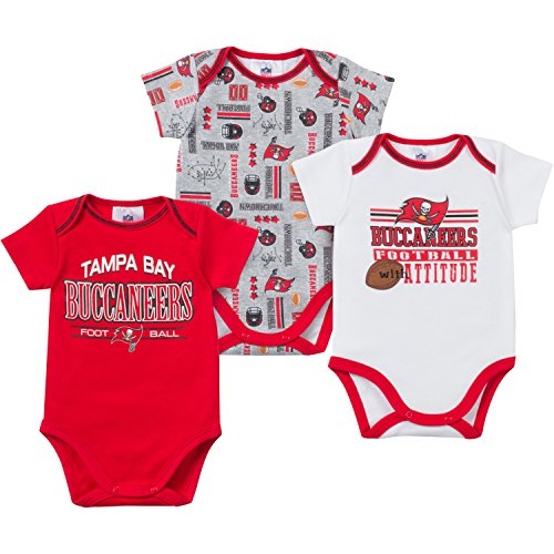 NFL Tampa Bay Buccaneers Bodysuit (3 Pack), 0-3 Months, Red/Gray/White (Onesie Bay Tampa Infant Buccaneers)