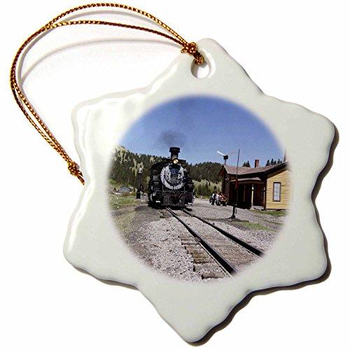 3dRose orn_92713_1 Cumbres and Toltec Train Chama New Mexico Julien Mcroberts Snowflake Ornament, 3-Inch, Porcelain