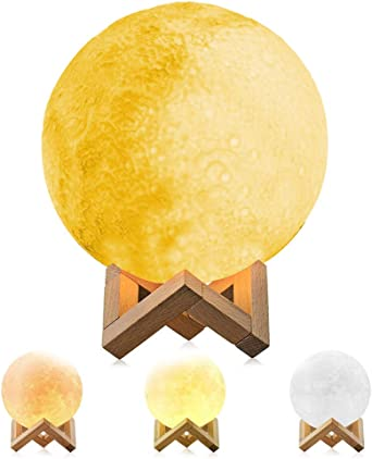 Extra Large 11 3D Moon Lamp,Mayround Full Moon Lamp,3D Modern Floor Lamp 28cm Yellow//Cool White//Light Yellow Moon Light Lamp,Home Decorative Lamp Button Control USB Charging Rechargeable