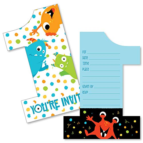 1st Birthday Monster Bash - Shaped Fill-in Invitations - Little Monster First Birthday Party Invitation Cards with Envelopes - Set of 12