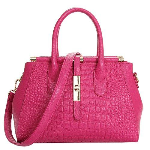 Large Single Shoulder LEATHER Casual BAG Bag Handbag Women Rose GENUINE Rose 0qXO7a