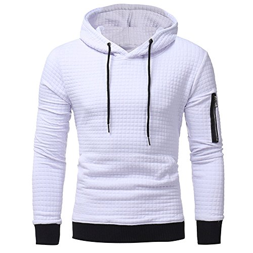 Ximandi Mens' Long Sleeve Plaid Hooded Sweatshirt Autumn Winter Slim Fit Hoodies w Pocket White