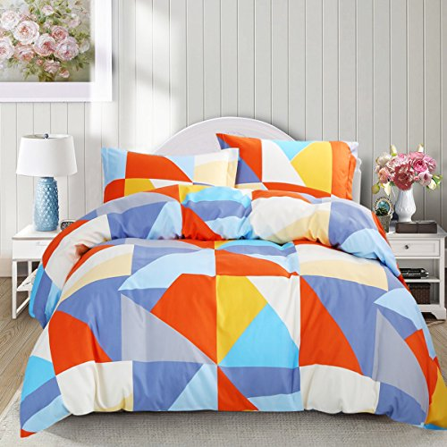 NTBAY 3 Pieces Duvet Cover Set Microfiber Colorful and Vivid Triangle Printed Pattern Design with Hidden Zipper(Queen, Orange)