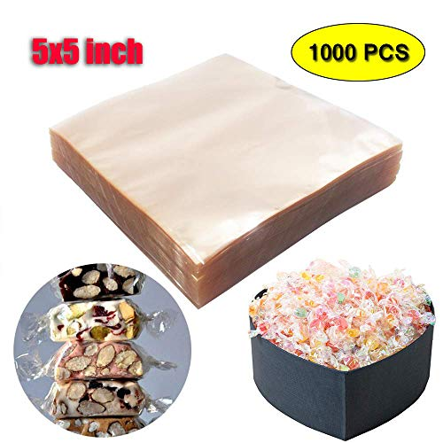 Praline Twist - Clear Caramel Candy Chocolate Wrappers 5x5 Inches (1000 Square Sheets) Natural Non-stick Cellophane Wraps for Taffy Truffles Lollipop Gummie Ganache Praline Fat Bomb Snacks Pack