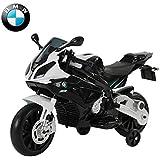 HOMCOM Moto Véhicule Electrique pour Enfant BMW 12V 2 Moteurs 2.5-5KM/H avec Phares Klaxon PP Blanc et Noir