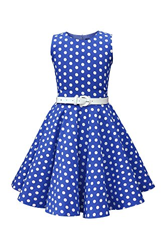 BlackButterfly Kids 'Audrey' Vintage Polka Dot 50's Girls Dress (Royal Blue, 9-10 YRS)]()