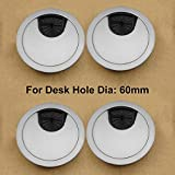 4 Units Metal Round Computer Desk Grommet Cable Hole Covers for Management of Office & Computer Desk, Hole Dia 60mm image