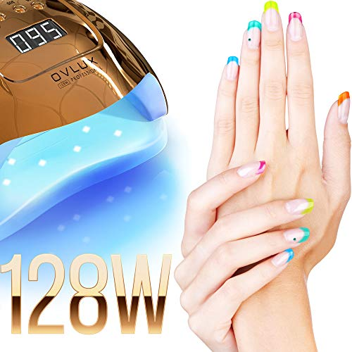 UV LED Nail Lamp – 128W Rapid-Curing Gel Nails Dryer for Manicures and Pedicures – Dual-Voltage with Extra-Long Cable, Multi-Language Manual – Professional Gel Lamp for Homes or Salons by means of OVLUX, Gold