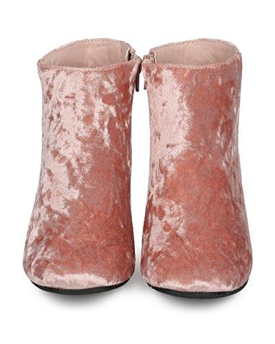 Dressy Everyday Ankle Heel Boot by Alrisco Chunky Boot Heel Metallic Velvet Trendy HD26 Low Casual Women Block Collection Bootie Ankle Pink Versatile Qupid xwtOtgFv8q