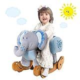 Labebe Child Rocking Horse Plush, Stuffed Animal Rocker Toy, 2 in 1 Blue