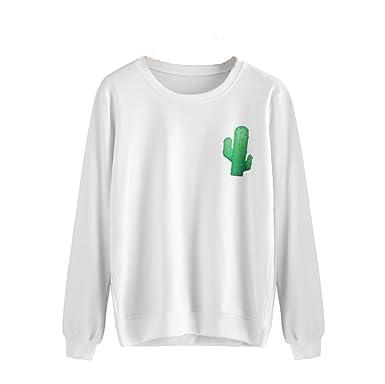 45c48a619 MODOQO Women Printing Jumper Sweater Crop Cactus Hoodie Sweatshirt Pullover  Tops at Amazon Women's Clothing store: