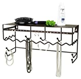Home Basics Bronze Wall Mount Jewelry & Accessory Storage Rack Organizer Shelf for Earings, Bracelets, Necklaces, Hair Accessories and More (17 Inch)
