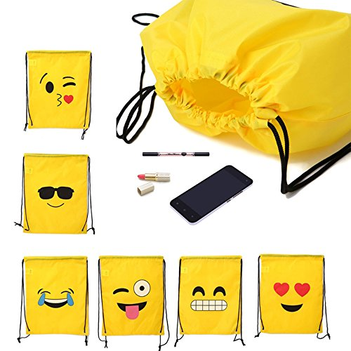 16X13 Inch Backpack Bags Emoji Assorted Emoticon Party Favors Drawstring Backpacks - 6 Pack by AEHIBO