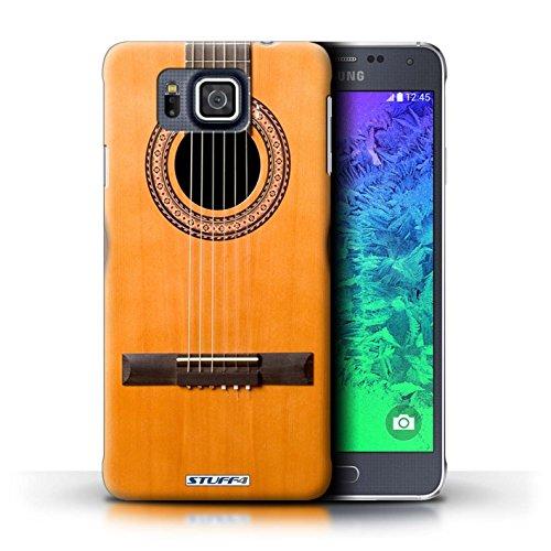 Kobalt® Imprimé Etui / Coque pour Samsung Galaxy Alpha / Acoustique en Bois conception / Série Guitare