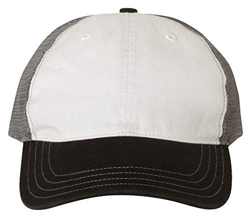 Richardson 111 Garment Washed Trucker Cap White/ Charcoal/ Black, Size Adjustable