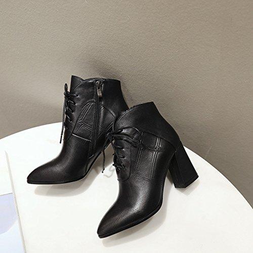 CXQ-Botas QIN&X Señaló La Mujer Tacones Bloque Toe Botines Cortos Zapatos con Plataforma,
