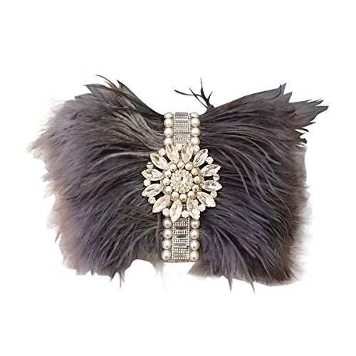 Zakia Real Natural Ostrich Feather Crystal Pearl Center Clutch Shoulder Bag for Wedding Party - Clutch 131