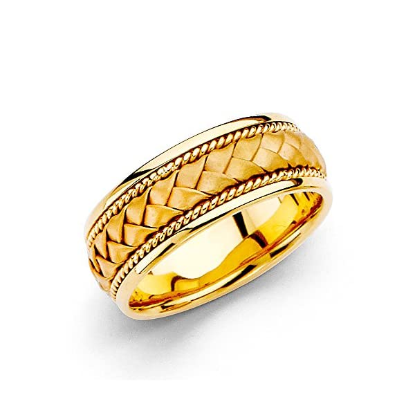 Wellingsale-14k-Yellow-Gold-Polished-Satin-8MM-Handmade-Braided-Rope-Comfort-Fit-Wedding-Band-Ring