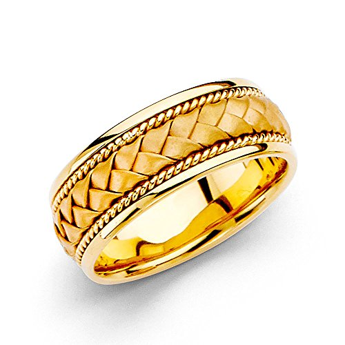 Wellingsale 14k Yellow Gold Polished Satin 8MM Handmade Braided Rope Comfort Fit Wedding Band Ring - size (Rope Comfort Fit Wedding Band)