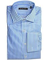 Michael Kors Men's Stripe French Cuff Dress Shirt Mineral Blue & White 16.5 32-33
