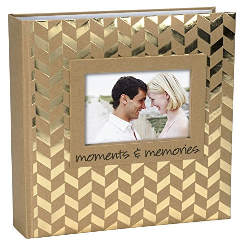 (Malden International Designs Sentiments Moments & Memories with Memo Photo Opening Cover with Gold Foil Accents Brag Book, 2-Up, 160-4x6,)