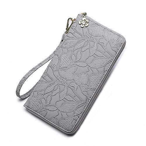 Women's large Wallet bifold soft leather wristlet Card Organizer Phone holder designer Ladies Clutch Long Purse with Wrist Strap Zipper around (grey)