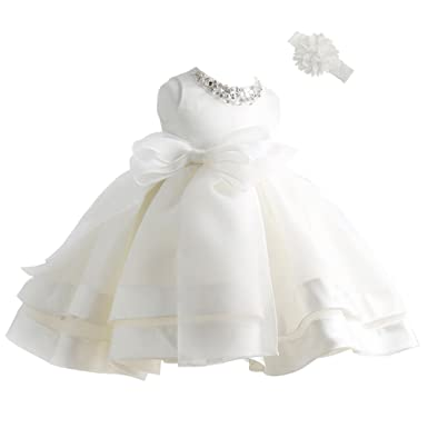 5ebf7282b915b Coozy Baby Girl Dress Christening Baptism Gowns Flower Girl Special  Occasion Dress (3M(0