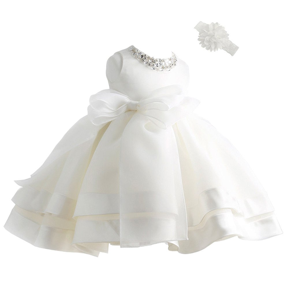 Coozy Baby Girl Dress Christening Baptism Gowns Flower Girl Special Occasion Dress (3M(0-6Months), Ivory)
