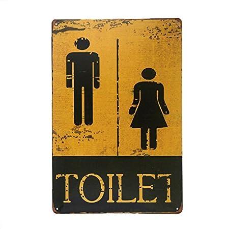 DL-TOILET Cartel de latón para aseo de señoras y caballeros ...