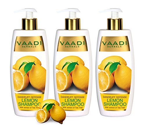 Lemon with Tea Tree Extract Shampoo - ★ Dandruff Defense Shampoo - ★ ALL Natural Shampoo - ★ Paraben Free - ★ Sulfate Free - ★ Scalp Therapy - ★ Moisture Therapy - ★ Suitable for All Hair Types - ★ Value Pack of 3 X 11.8 Ounces - Vaadi Herbals (Alcohol Free Herbal Shampoo)