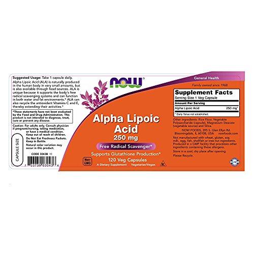 NOW Alpha Lipoic Acid 250 mg120 Veg Capsules Discount