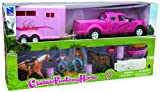 new ray horse trailer - 1/18 Pink Dually Pickup Truck with Horse Trailer, Horse & Riders by New Ray