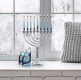 Zion Judaica Hanukkah Menorah Satin Silver