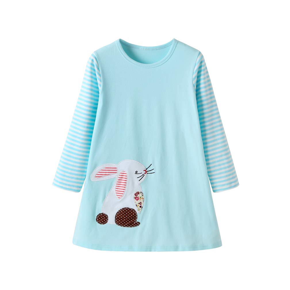 EISHOW Toddler Kids Baby Girl Dresses Cartoon Appliques Striped Long Sleeve Party Birthday Princess Daily Wear Autumn Winter Clothes (Light Blue, 18-24M)