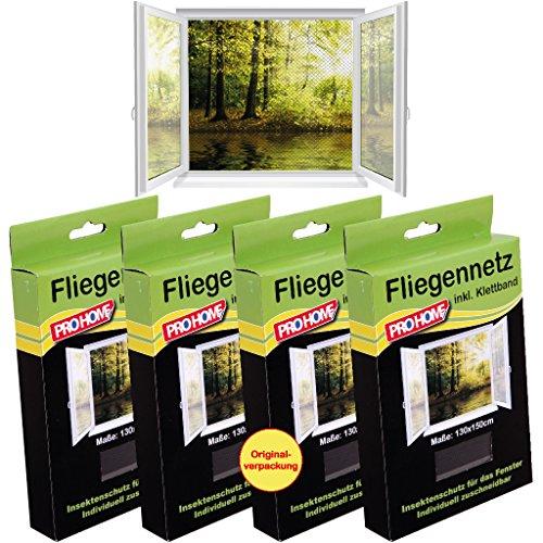 Mückennetze 4er Pack, schwarz, Insektenschutz Fliegennetz von Pro Home