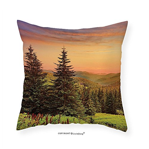 VROSELV Custom Cotton Linen Pillowcase Forest Heaven Like View with Fir Trees Pines Spruce on Sidehills at Dawn Outdoors for Bedroom Living Room Dorm Green Coral Lilac (Spruce Square Clock)