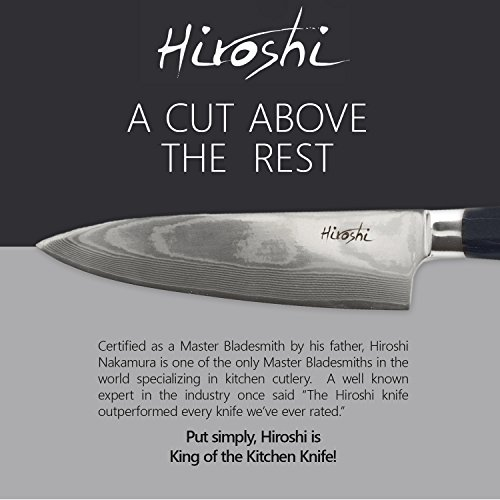 Premium Sushi & Sashimi Chef's Knife – 8'' Ultra High Carbon Damascus Steel – Presented In A Beautiful Gift Box (Black Handle) by HIROSHI (Image #3)