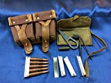 Original Mosin Nagant Ammo Pouch, Cleaning Kit, and 5 Stripper Clips by ESKS