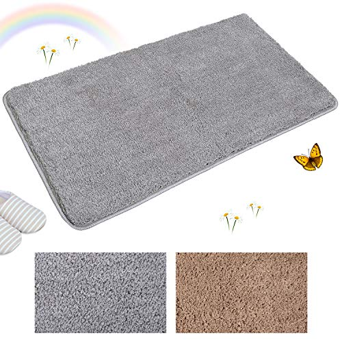 Indoor Doormat Super Absorbent Mud and Water Low-Profile Mats Machine Washable Non Slip Rubber Entrance Rug for Front Door Inside Dirt Trapper Mats Shoes Scraper - Grey, 20